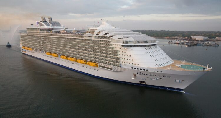 Royal Caribbean International's Harmony of the Seas, the world's largest and newest cruise ship, sails into Southampton, UK.